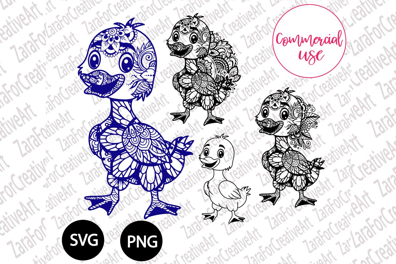 Duck mandala Zentangle svg example image 1