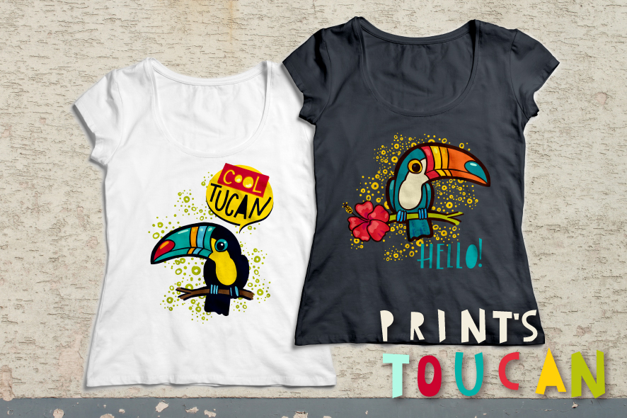 Tropical toucan prints on a t-shirt. example image 2