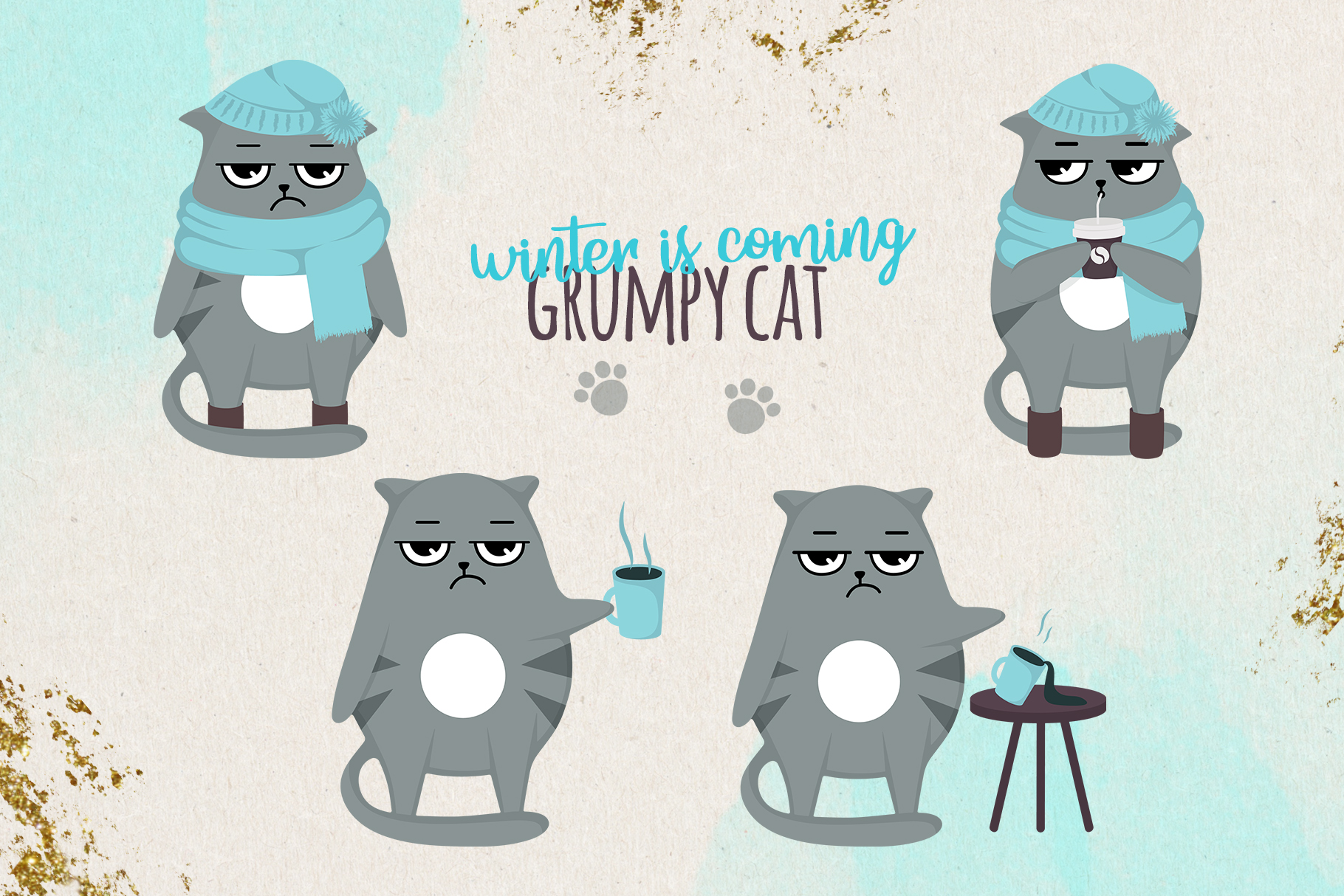 Grumpy cats vector collection example image 5
