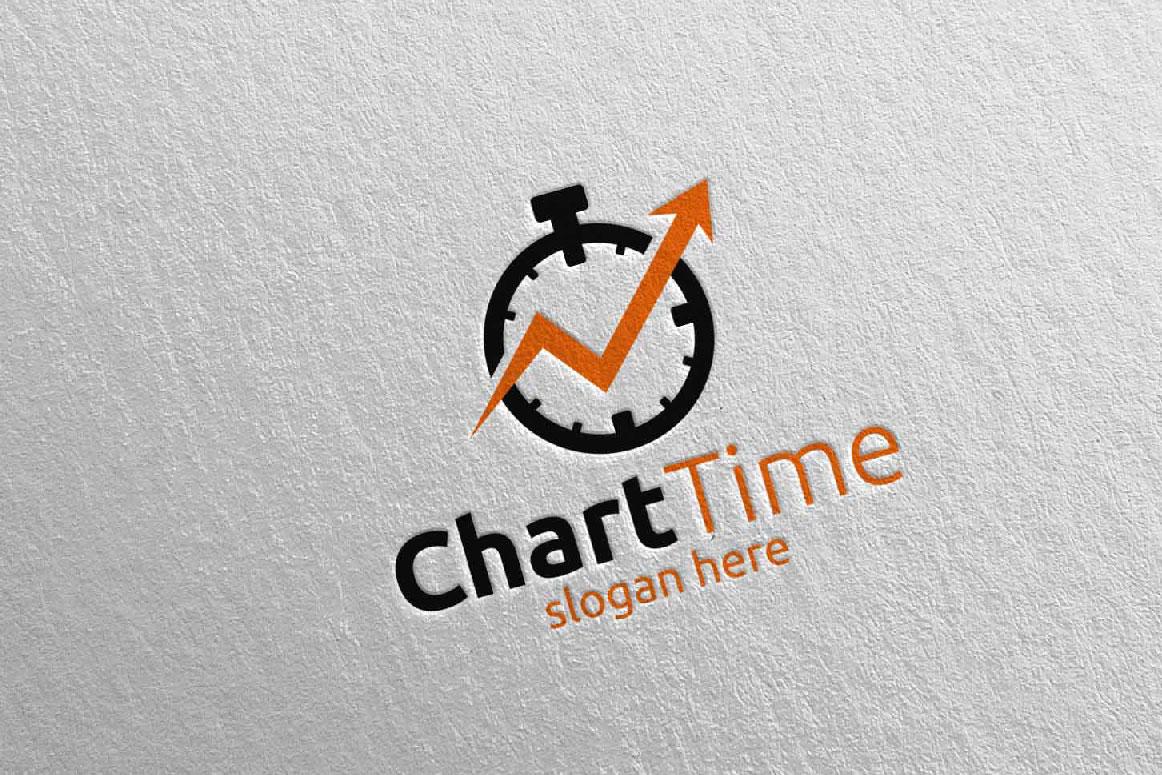 Chart Time Marketing Financial Advisor Logo Design 18 example image 1