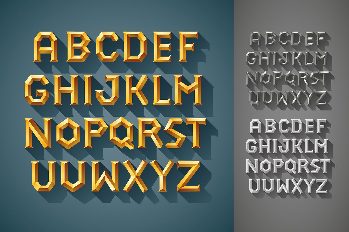 3D Font Set. Gold, wood, silver example image 4