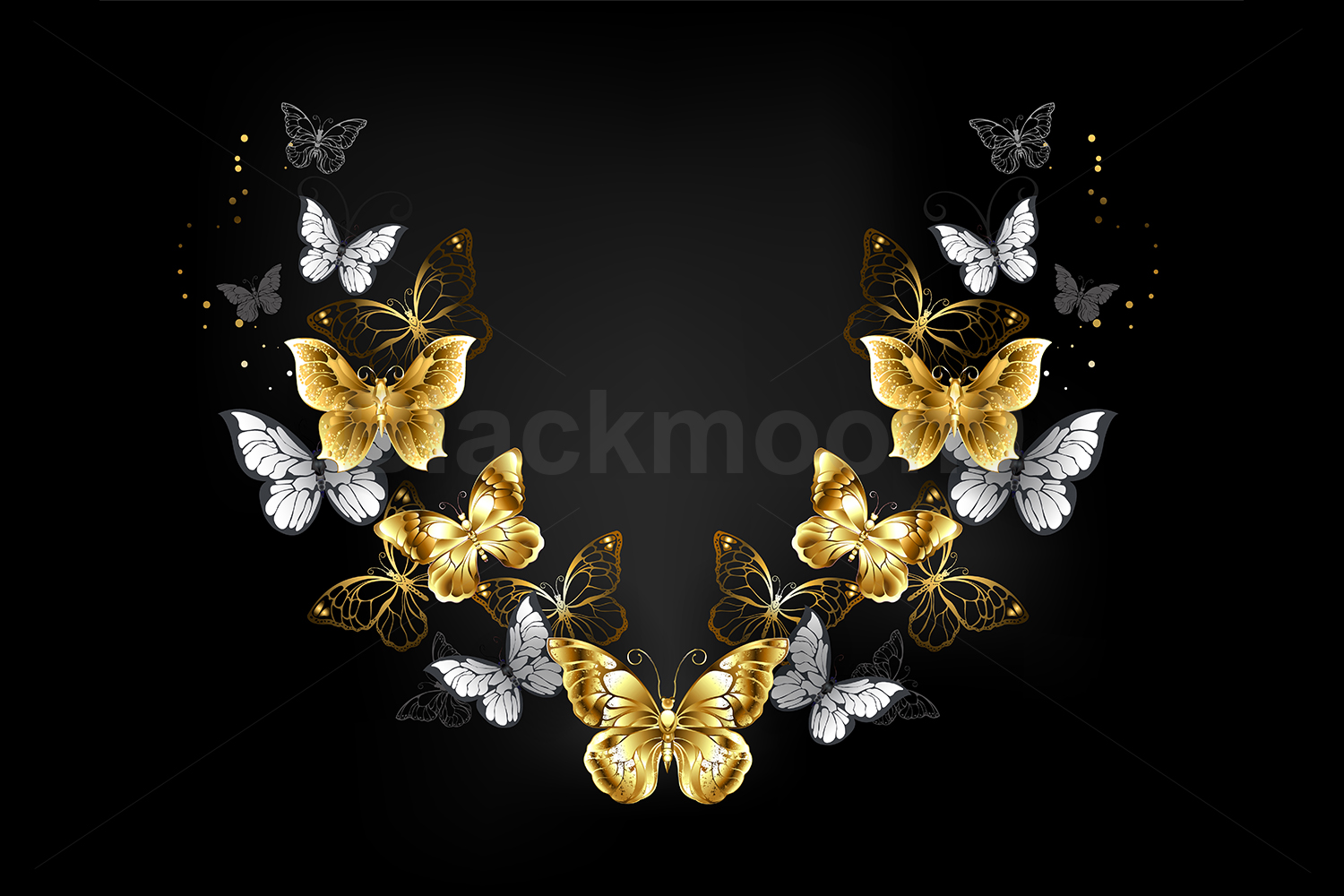 Symmetrical Pattern of Gold and White Butterflies example image 1