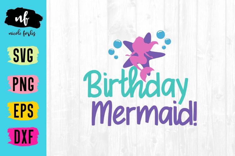Birthday MermaidSVG Cut File example image 1