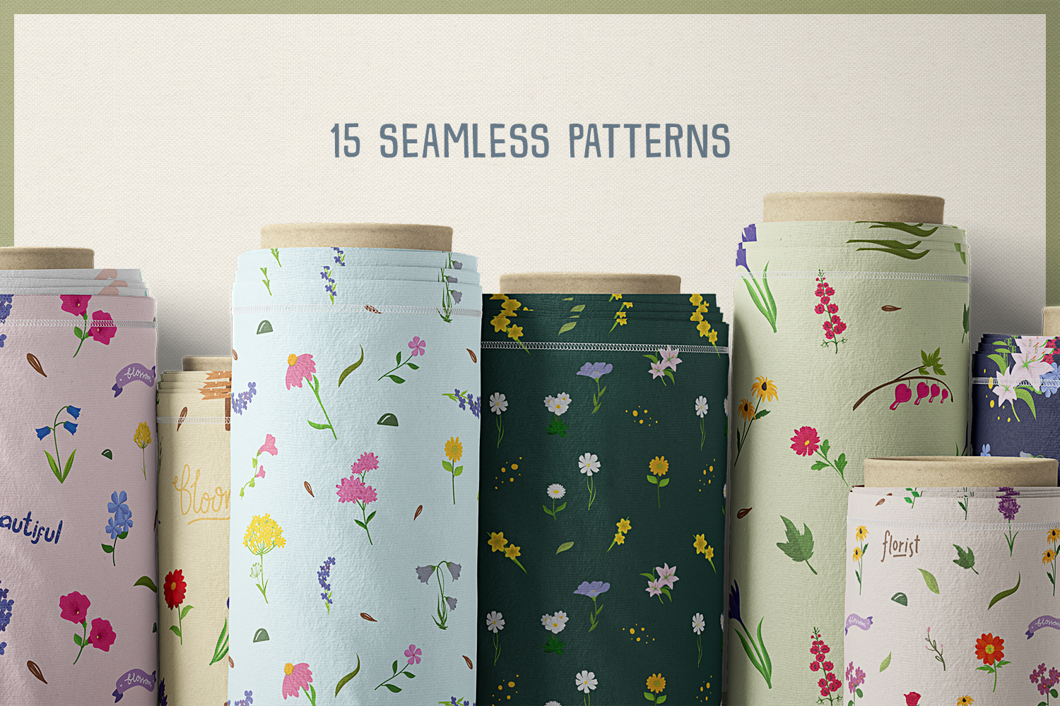 80 Flower Lover Vector Clipart & Seamless Patterns example image 7