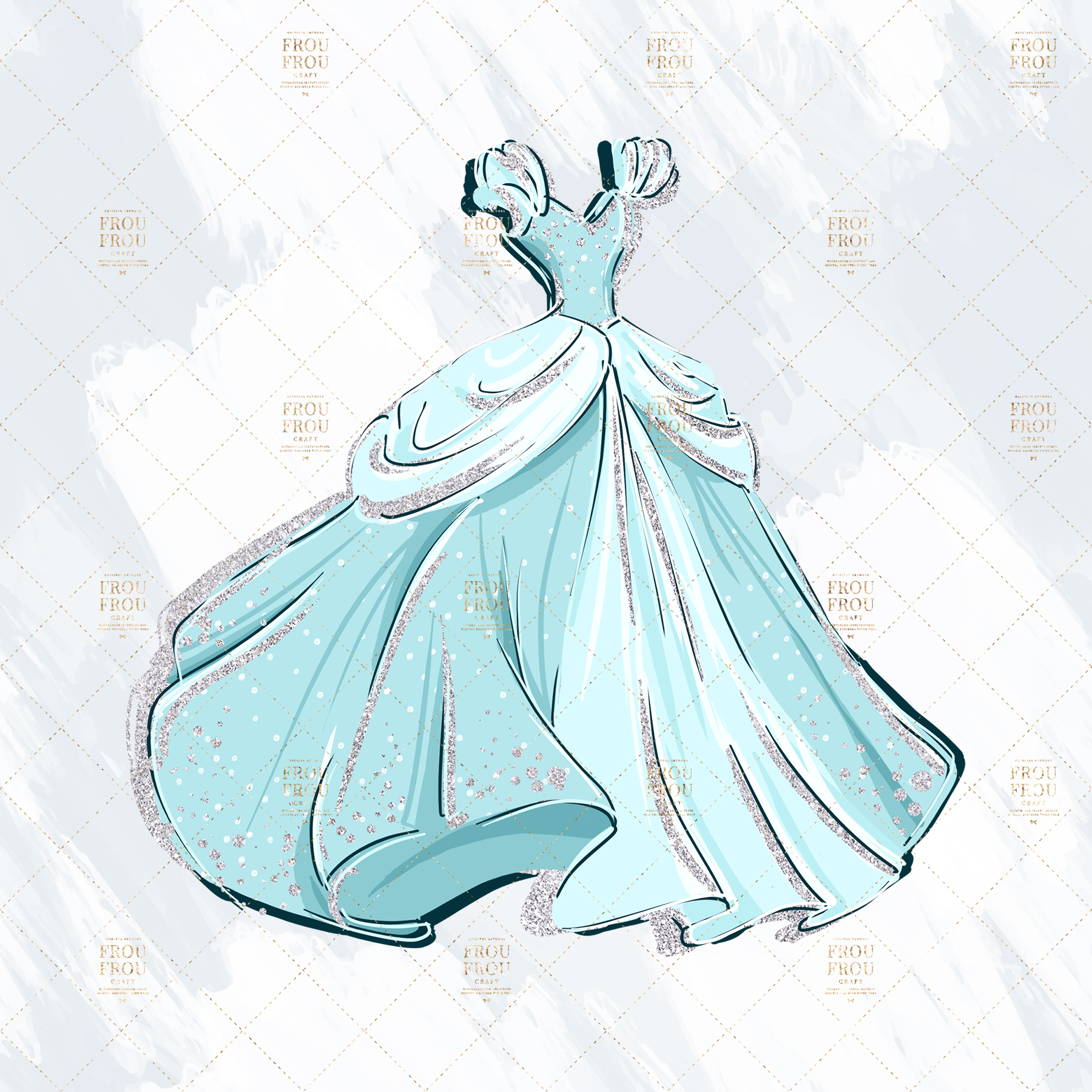 Princess Cinderella Fairy Tale Gold Glitter Clip Art example image 5