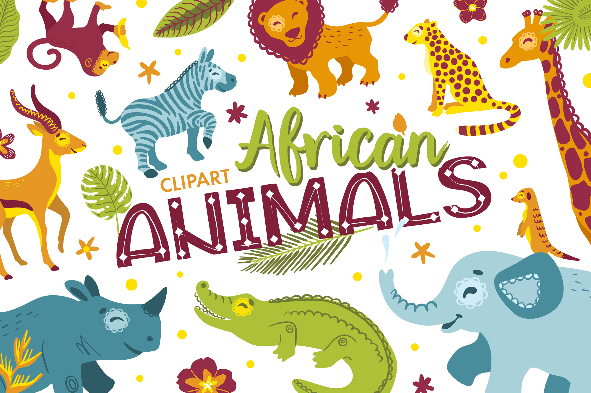 African animals clipart and alphabet vector example image 1