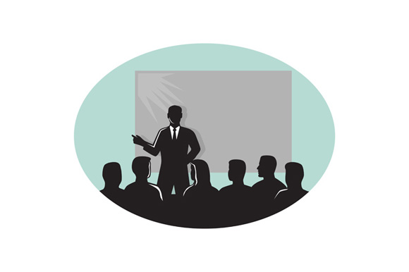 Speaker Audience Projector Screen Oval Woodcut example image 1