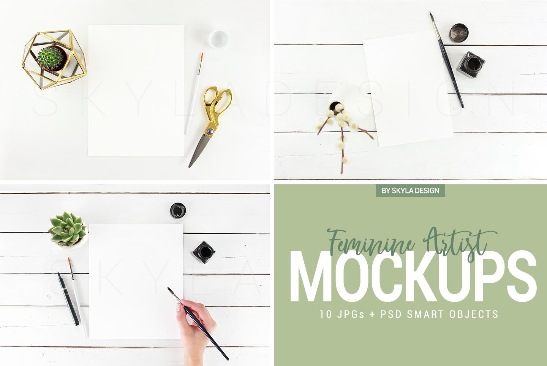 10 Feminine artist styled stock photo's mockup bundle flatlays example image 6