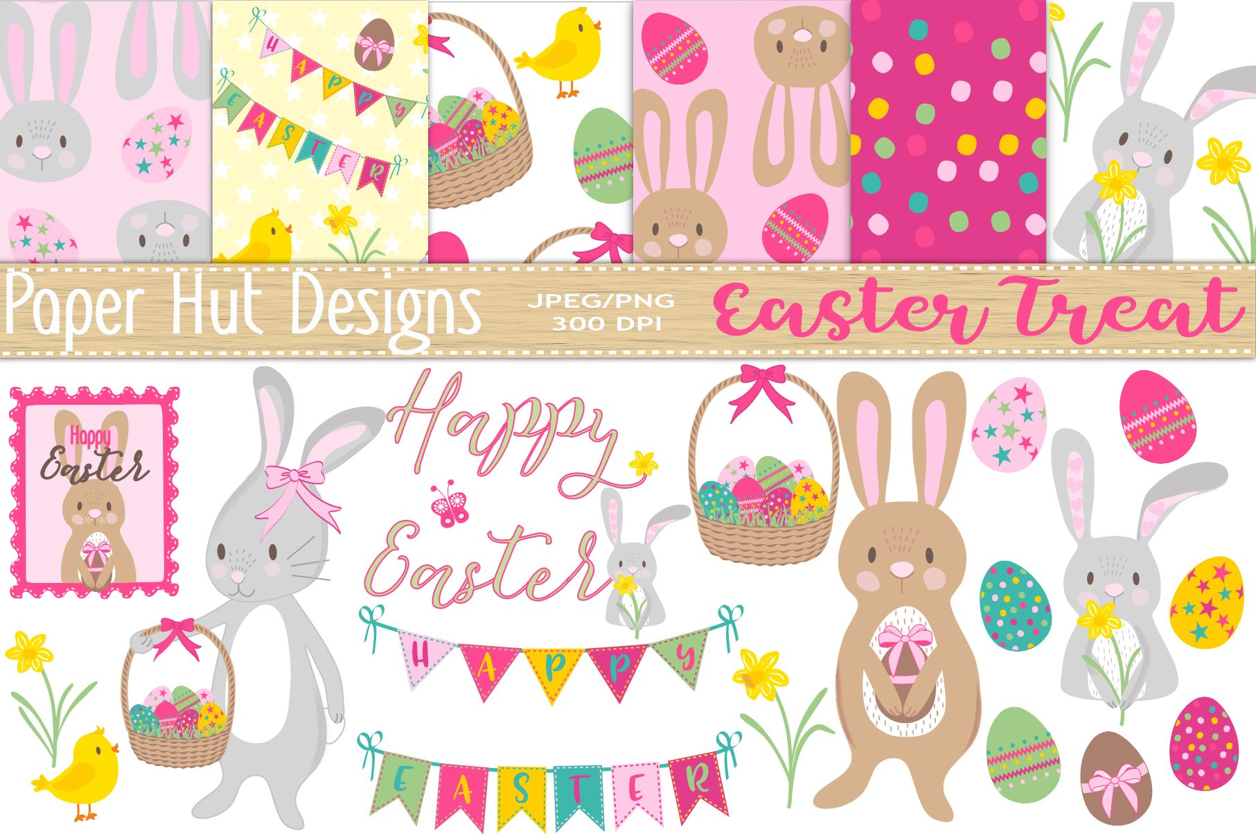 Easter Clipart and Digital Papers Set example image 1