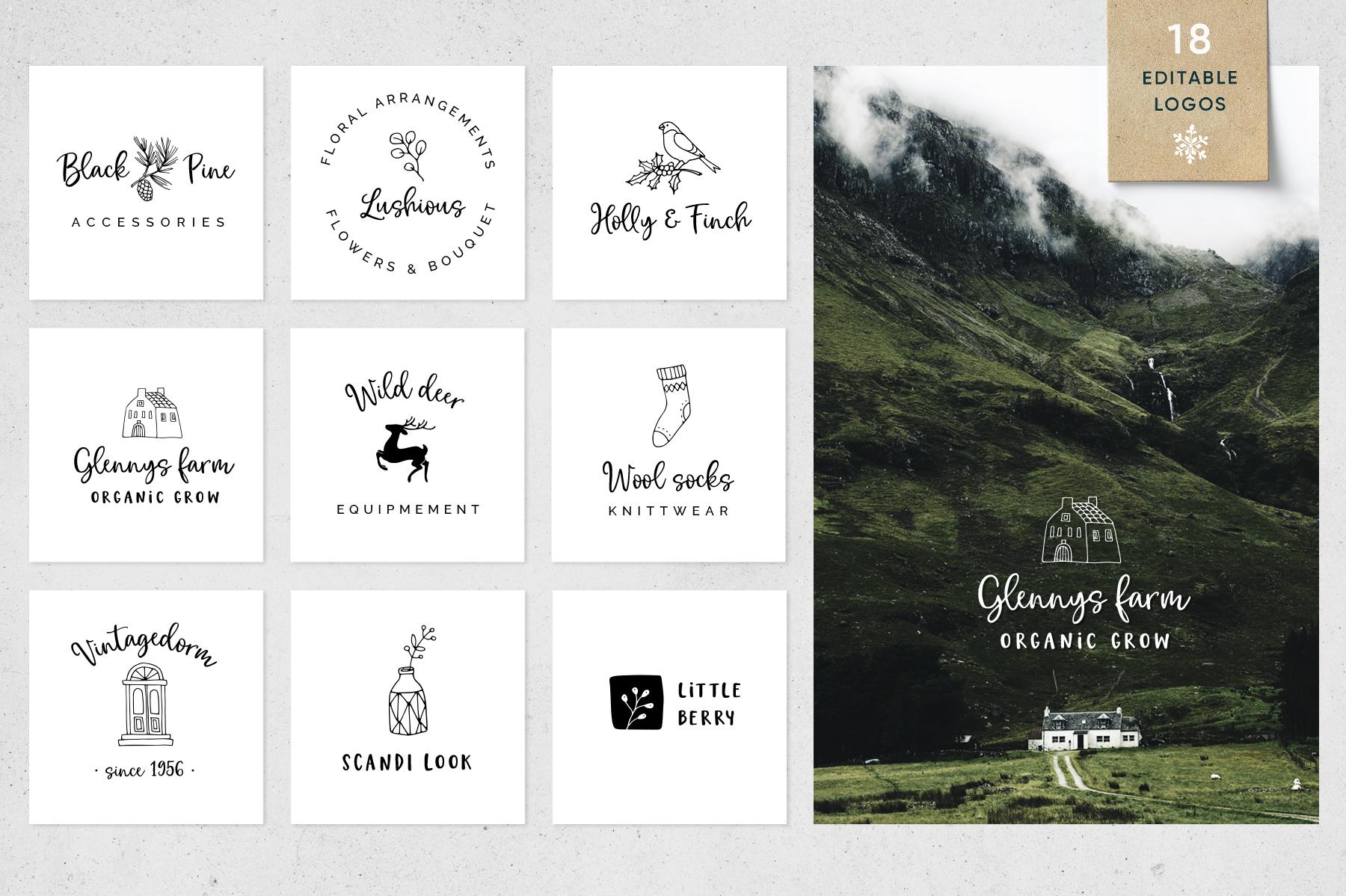 Magic Winter script font duo & logos example image 3