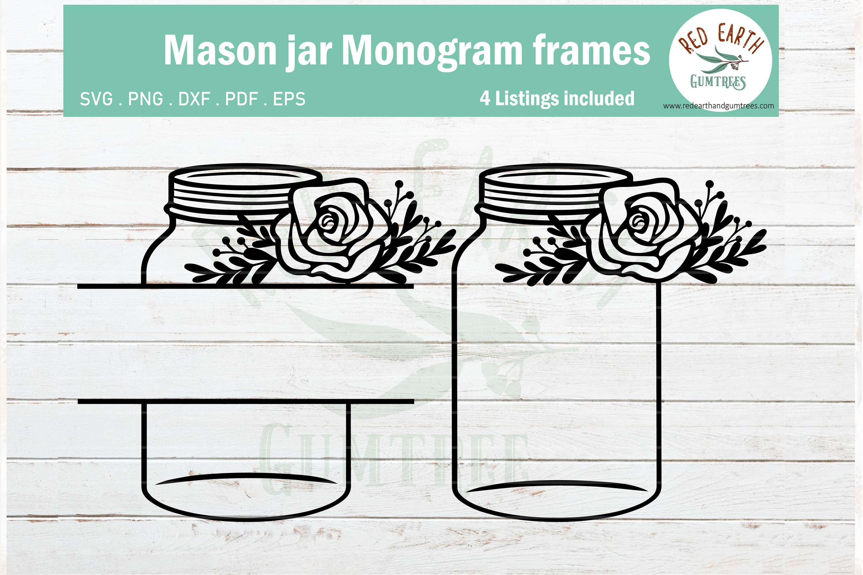 Floral mason jar, wedding mason jar monogram SVG,PNG,DXF,EPS example image 3