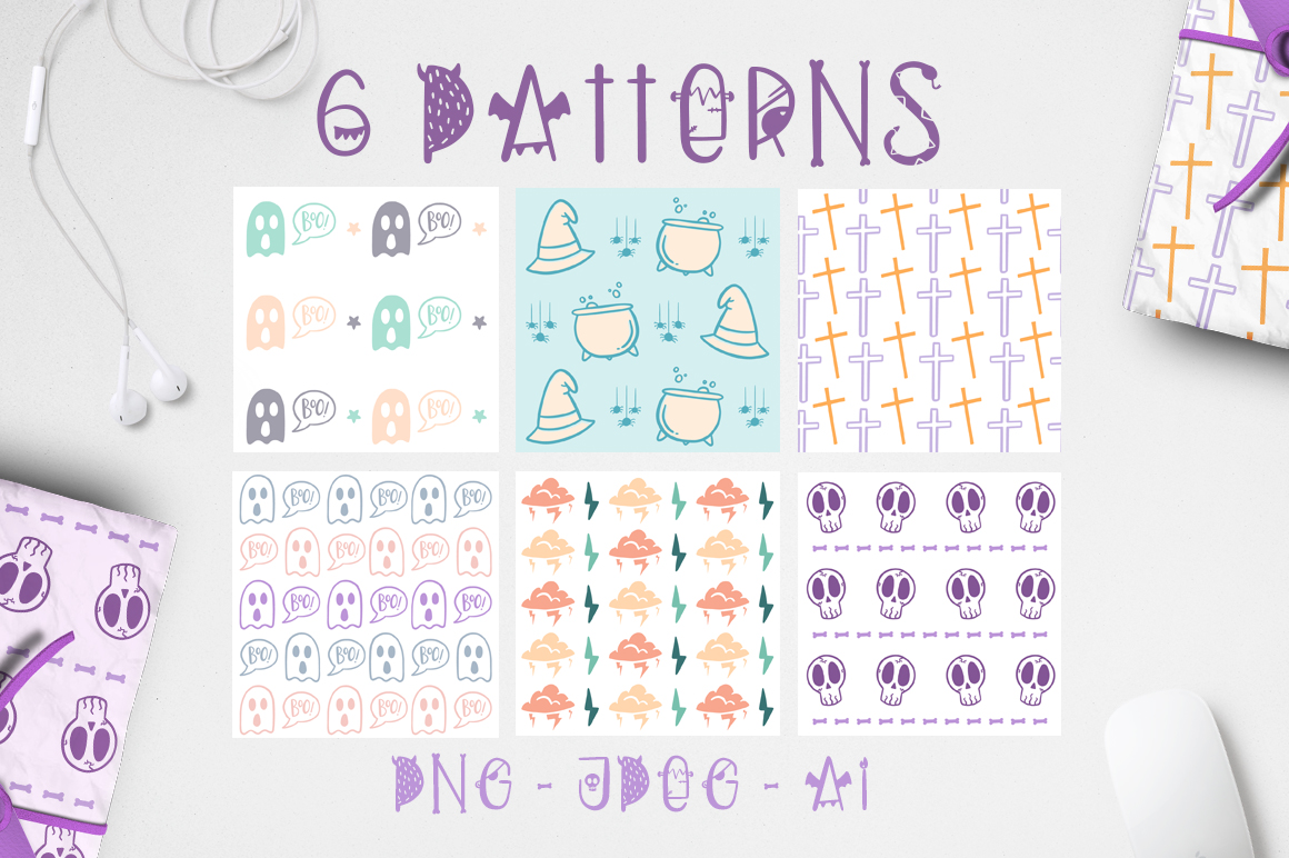 Dark font patterns, brushes and more! example image 4