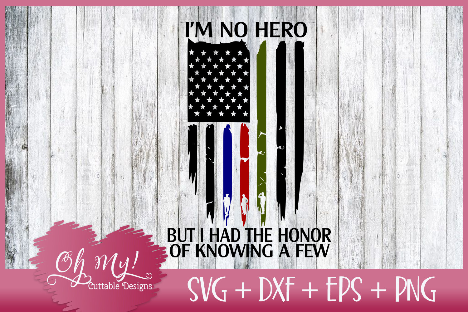 Distresses Flag - I'm No Hero - SVG DXF EPS PNG Cutting File example image 4