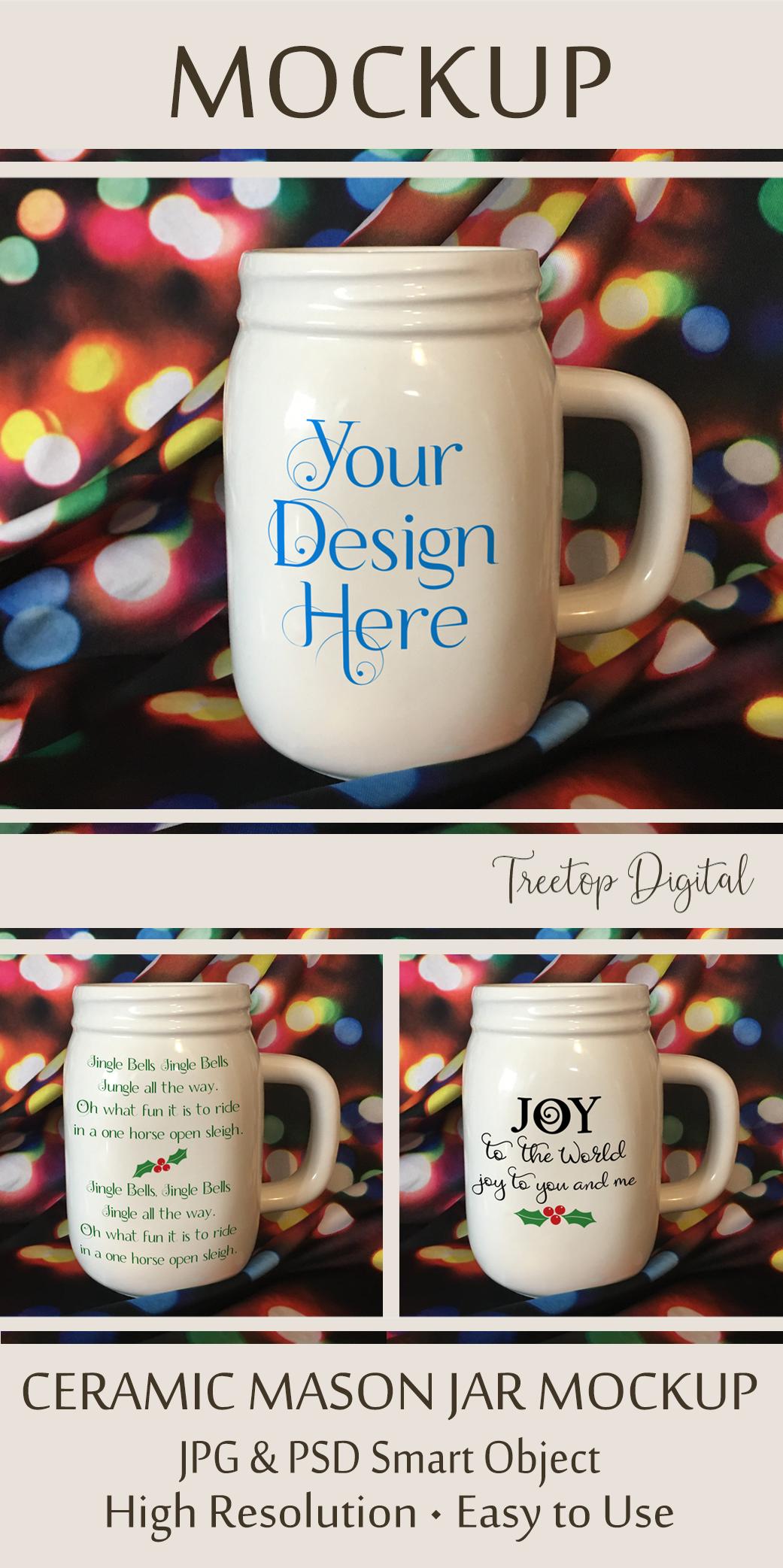 Mason Jar Mug Christmas Mockup, PSD Smart Object & JPG example image 7