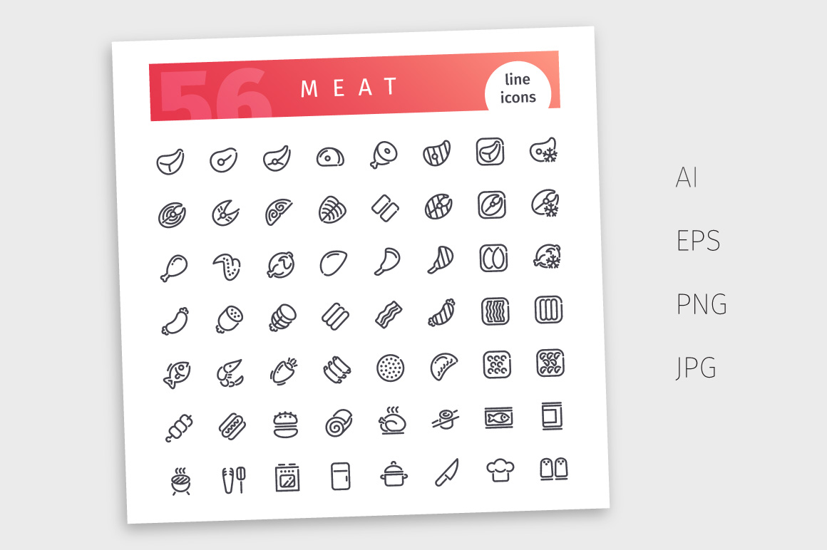Meat Line Icons Set example image 4
