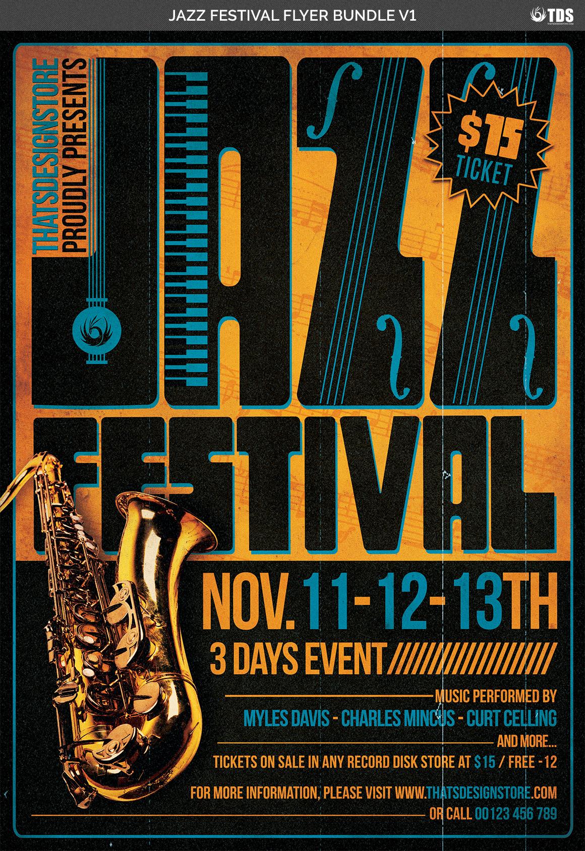 Jazz Festival Flyer Bundle V1 example image 6