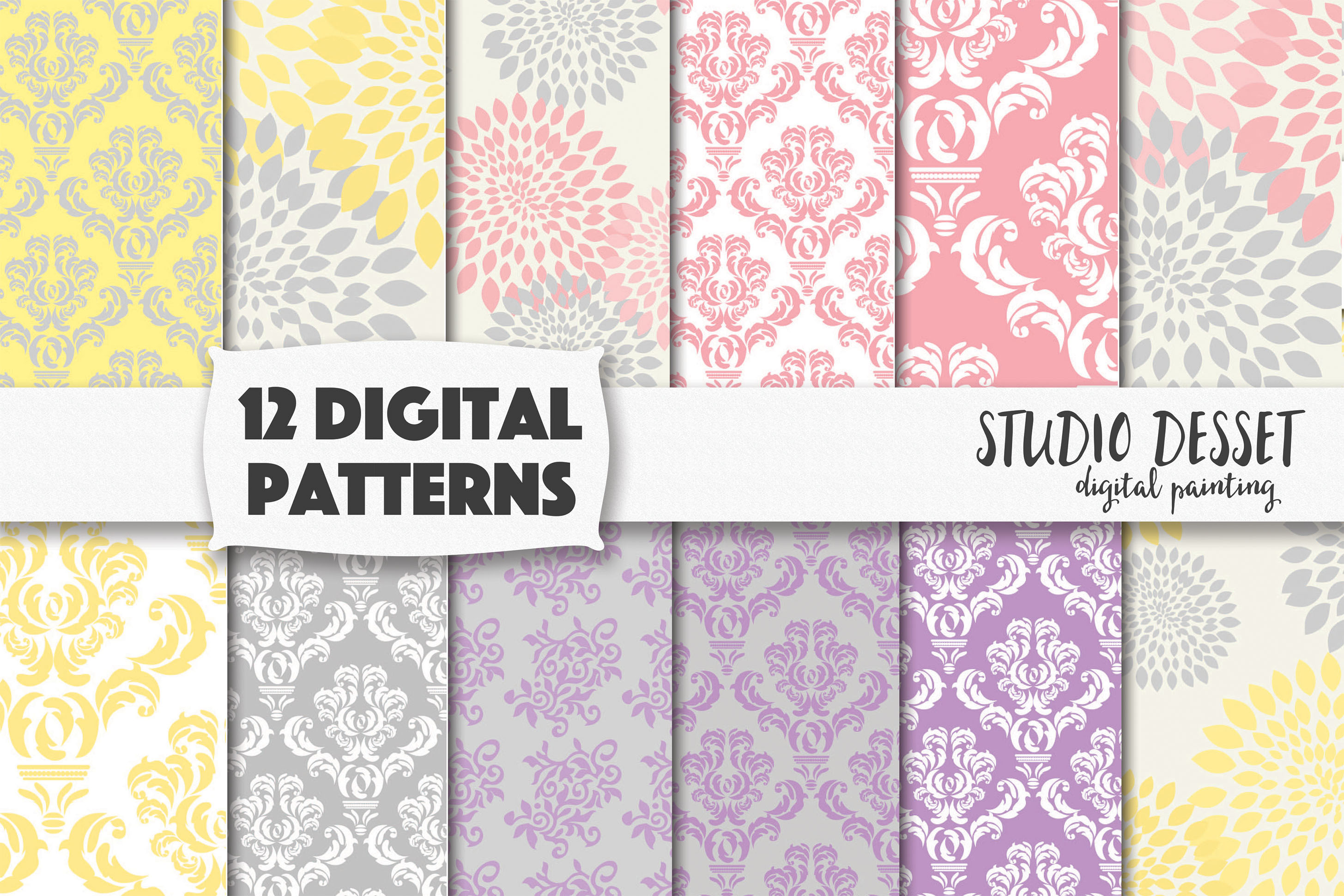 Damask Digital Patterns Floral Pastel Backgrounds