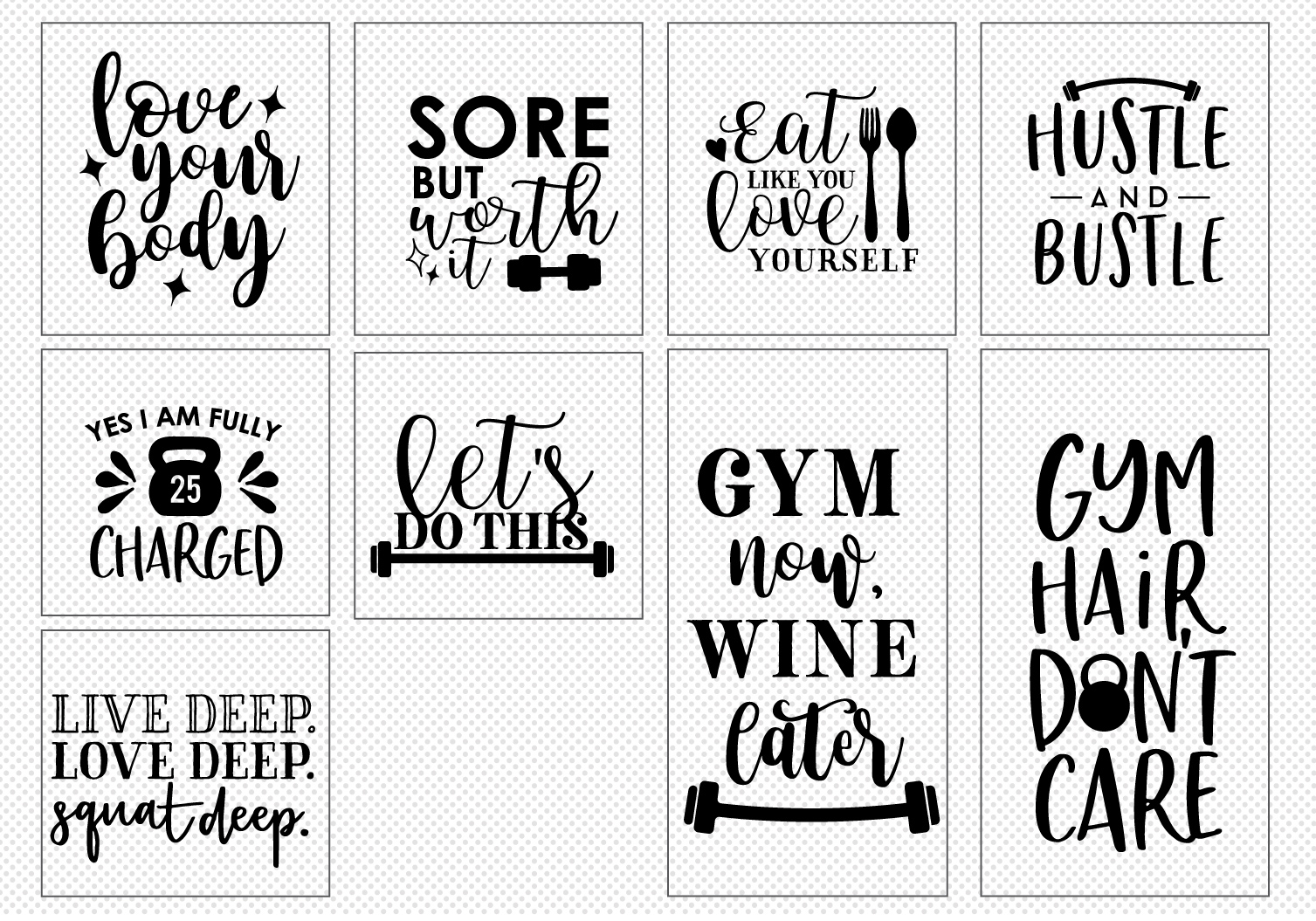 WORK OUT Quote Cut File Bundle example image 5