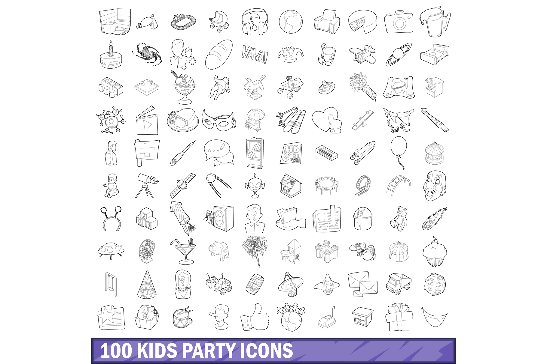 100 kids party icons set, outline style example image 1