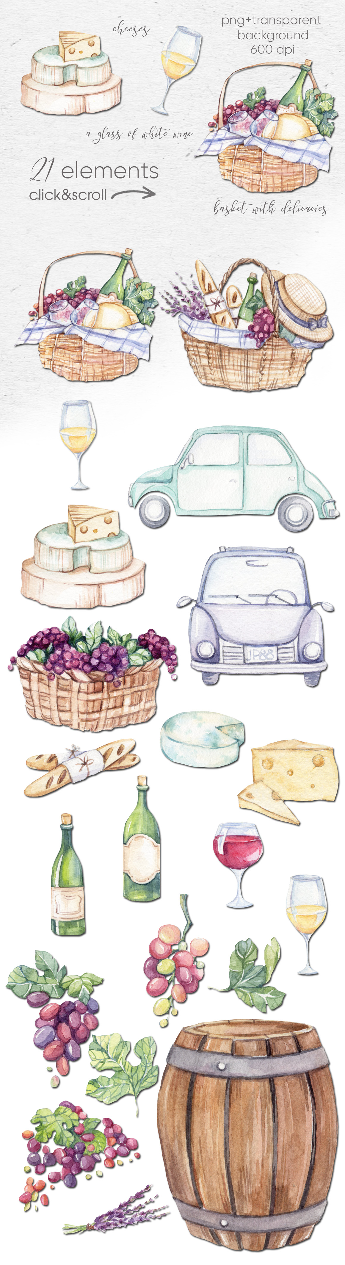 Watercolor collection PICNIC IN TUSCANY example image 2