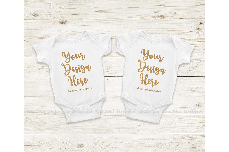 Matching Newborn White Baby Bodysuit Mock Up, Infant Mockup example image 1