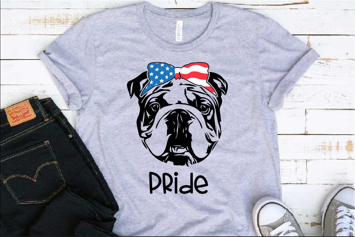Bulldog USA Bandana Head French Dog 4th July 1380S example image 1