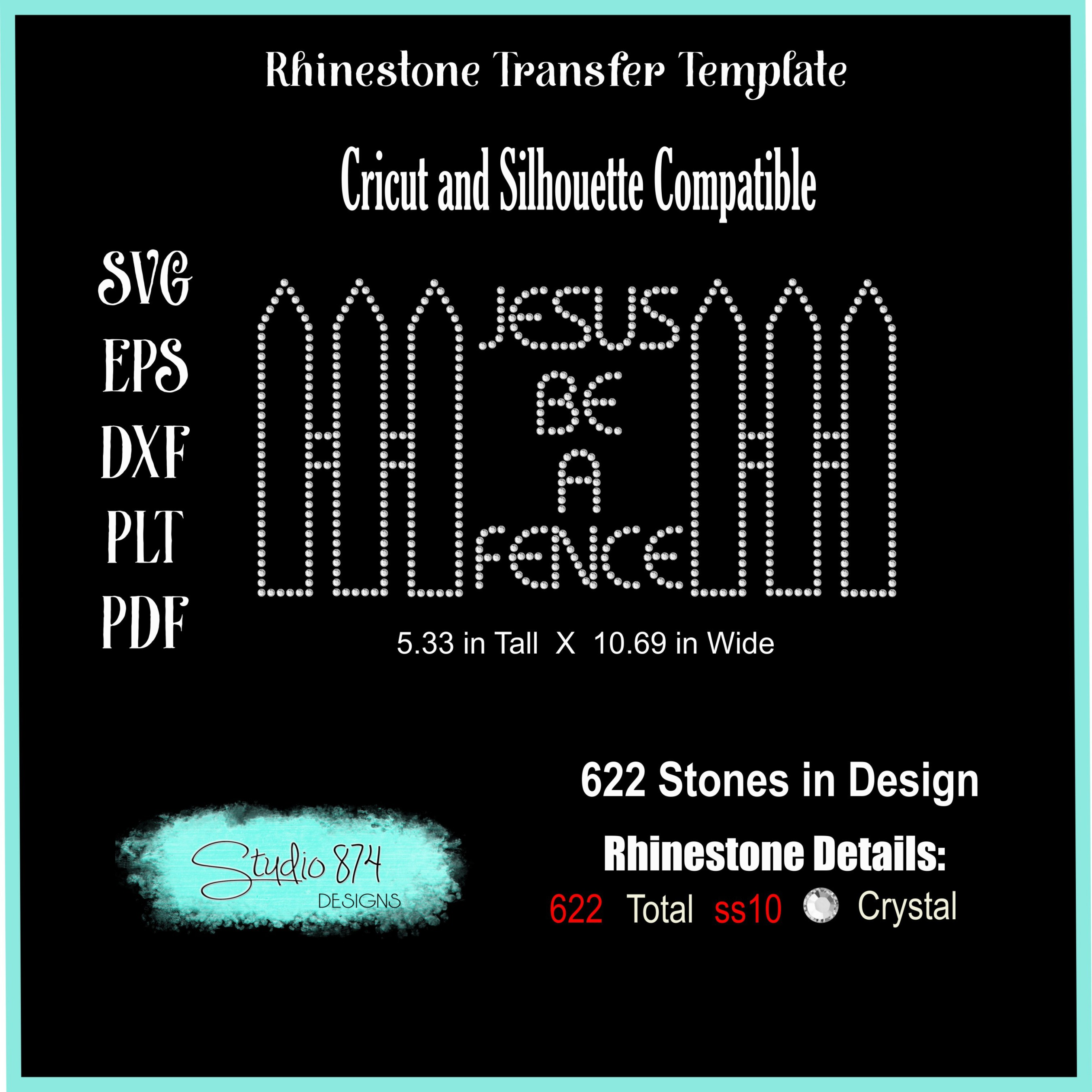 Faith Religious Rhinestone SVG Template - Jesus Be a Fence example image 3