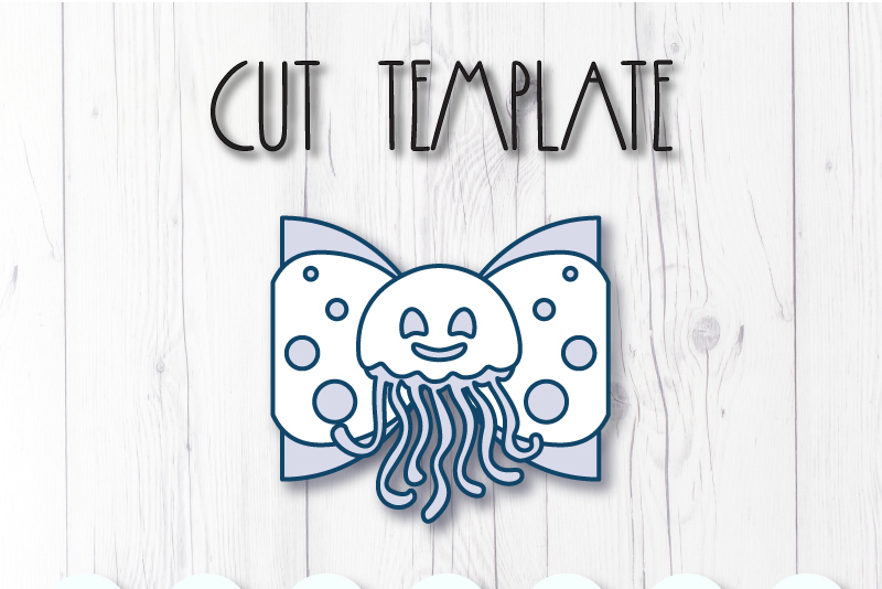 Jellyfish Hair bow template SVG, DIY leather bow template example image 2