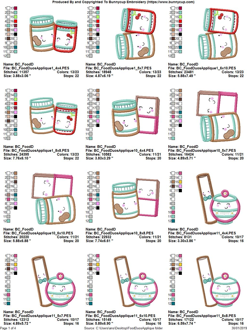 Food Duos Applique - 12 Machine Embroidery Designs example image 14