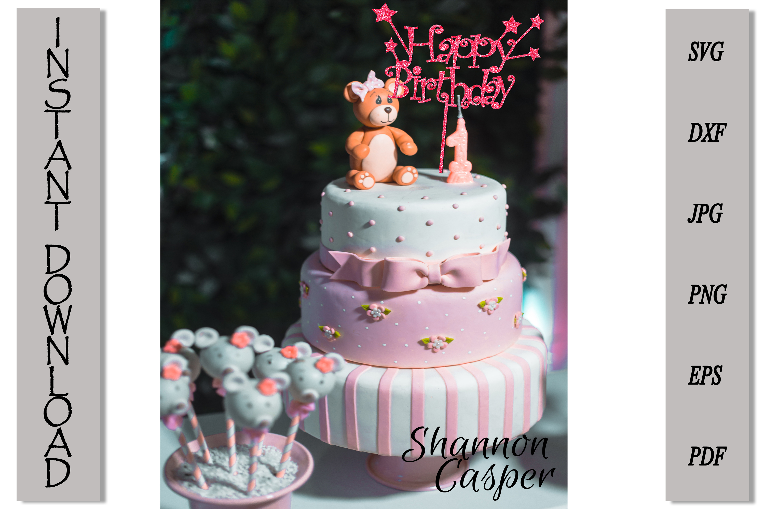 Happy Birthday Cake Topper with Stars example image 5
