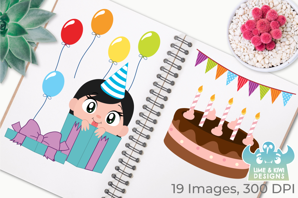 Birthday Party Girls 1 Clipart, Instant Download Vector Art example image 3