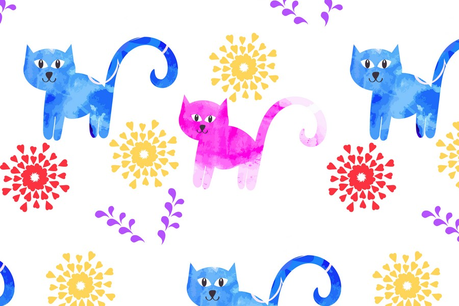 2 Watercolor cats pattern seamless, vector images example image 2