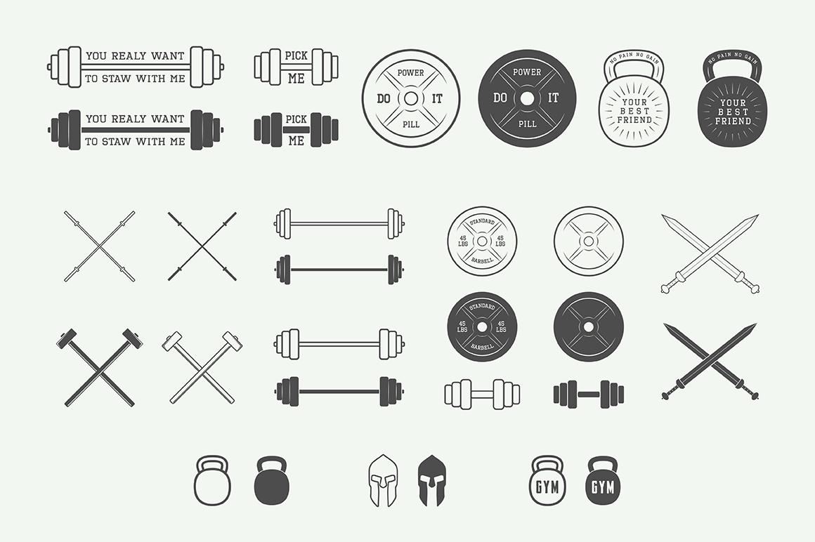 Vintage Gym Emblems Bundle example image 6