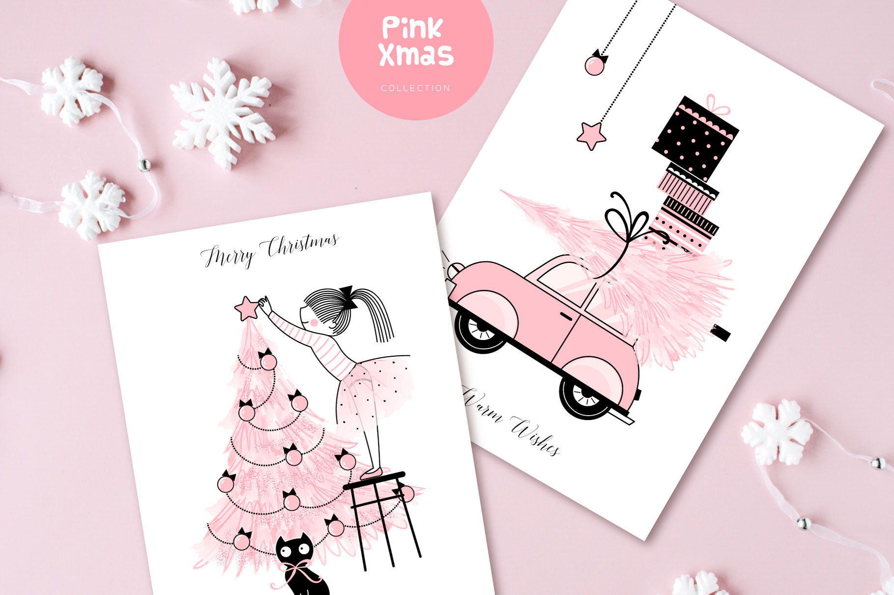 Cute Pink Christmas clip art set example image 3