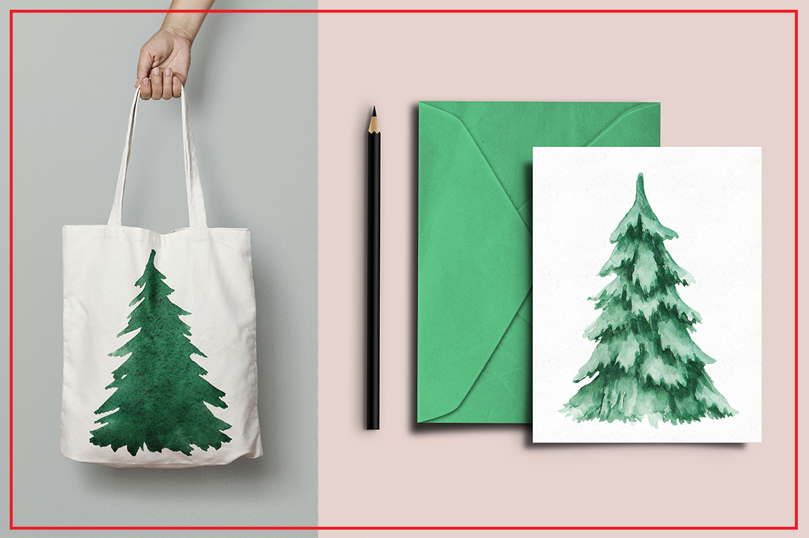 Watercolor Christmas trees 3 example image 4