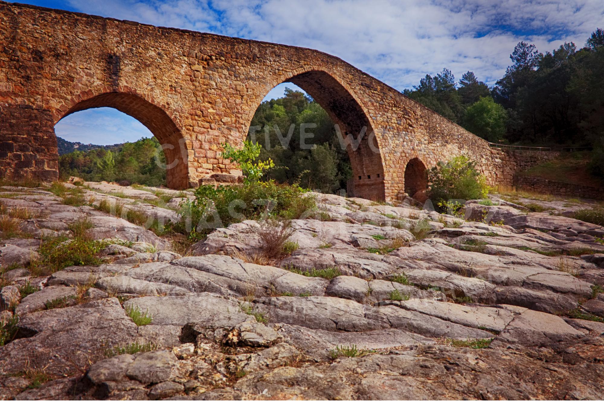 Gothic Stone Bridge Over The River Llobregat Photo Bundle example image 3