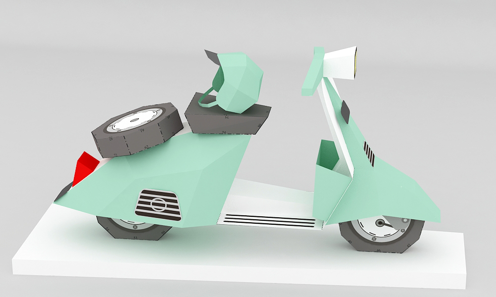 DIY Paper Scooter - 3d papercraft example image 4