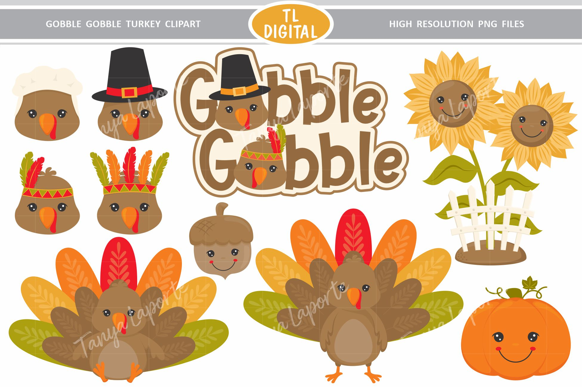 Thanksgiving Turkey Clipart - Gobble Gobble - 10 PNG Graphic example image 1