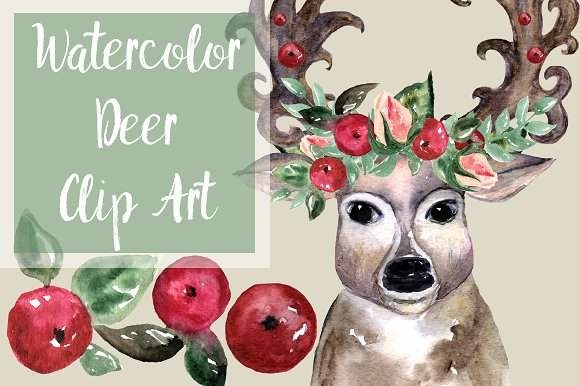 Oh, deer! - Watercolor Clip Art Set example image 1