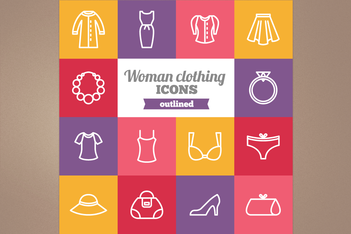 Outlined Woman Clothing icons example image 1