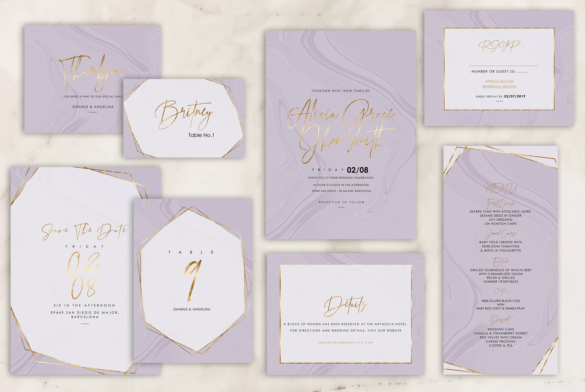 Marble Wedding Invitation - 6 Collections example image 12