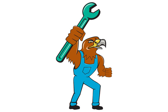 Hawk Mechanic Standing Pipe Spanner Cartoon example image 1
