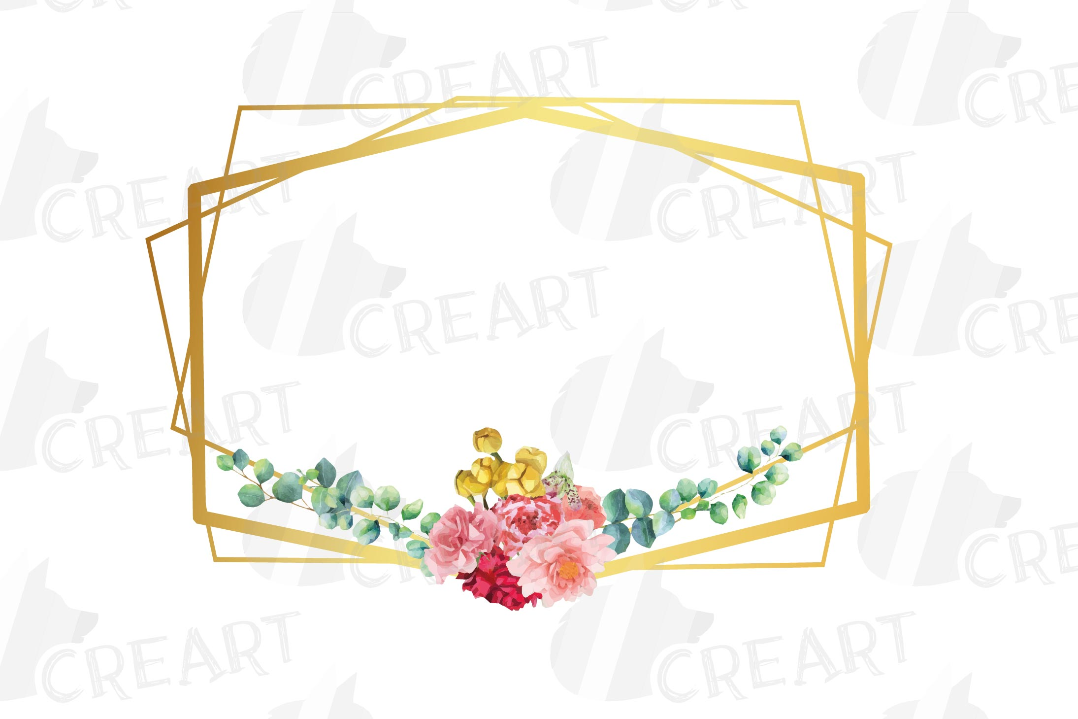 Watercolor floral golden frames and borders clip art pack example image 7