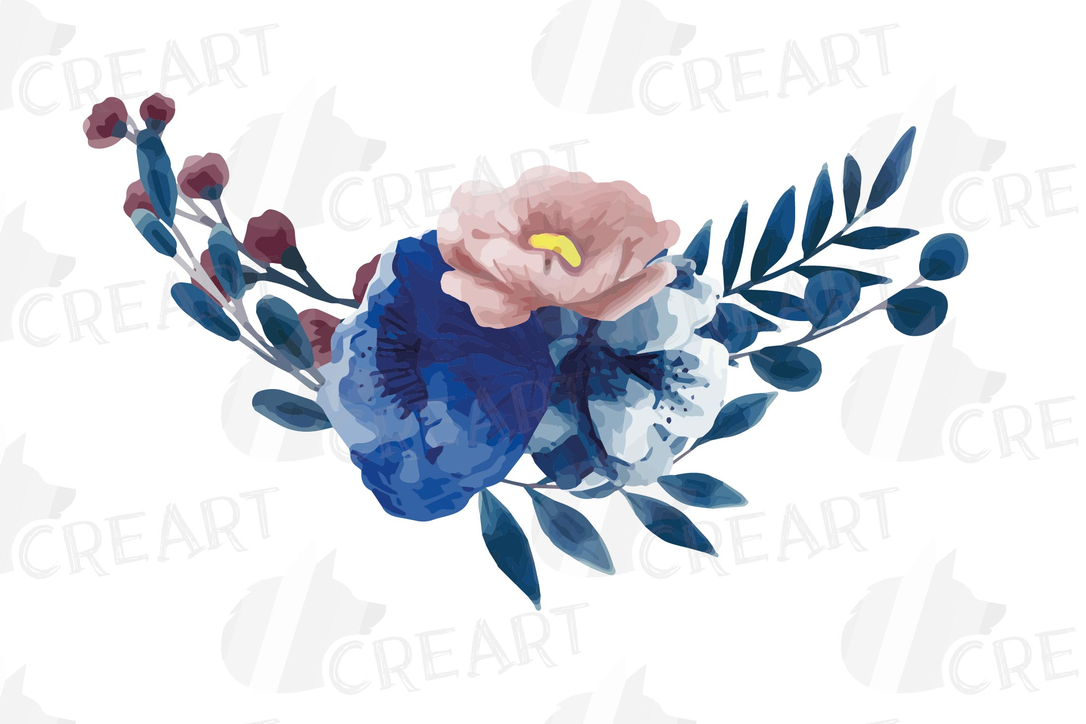 Navy blue and blush pink floral watercolor bouquets clip art example image 9