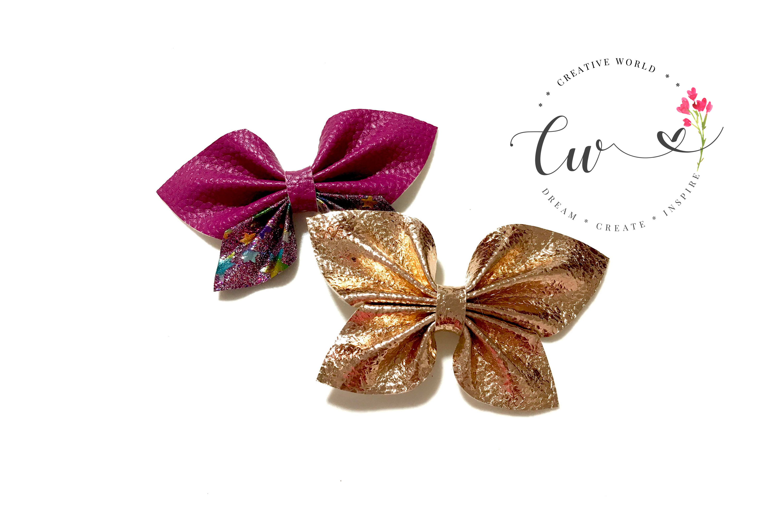 New 2 in 1 Butterfly Pinch Bow Digital Template example image 2