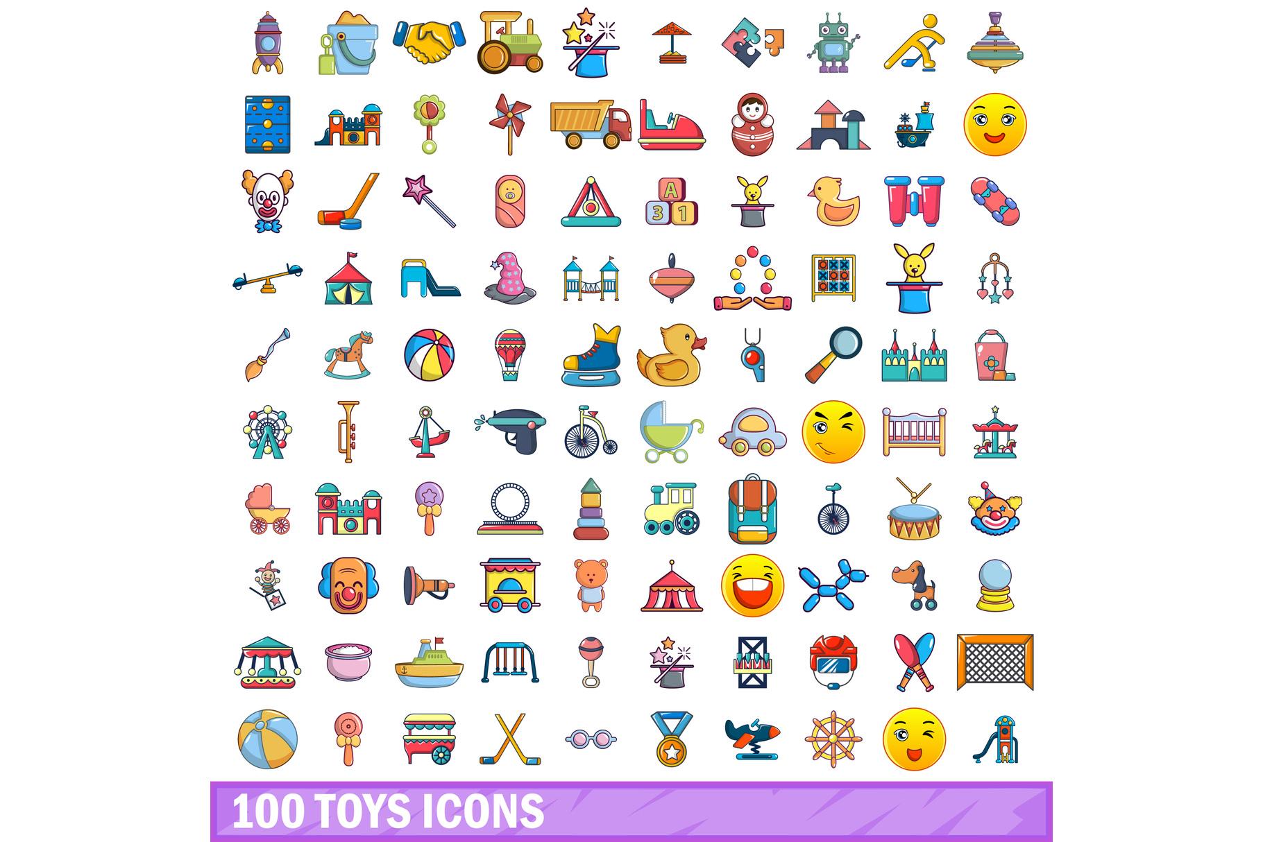 100 toys icons set, cartoon style example image 1