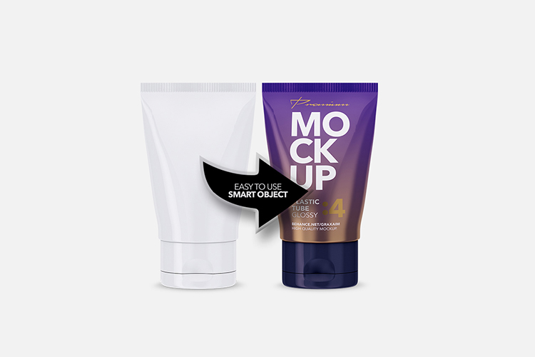 Glossy Plastic Cosmetic Tube Mockup - Front View - 04 example image 4