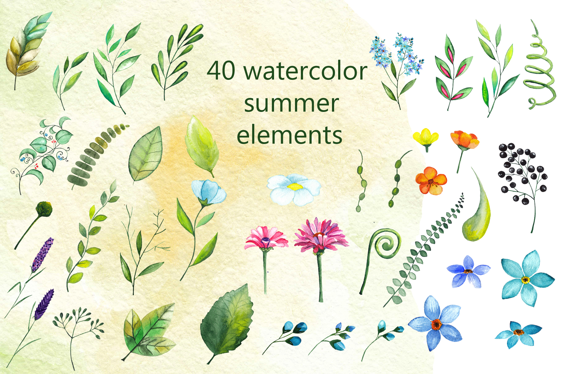 Watercolor summer flowers example image 10