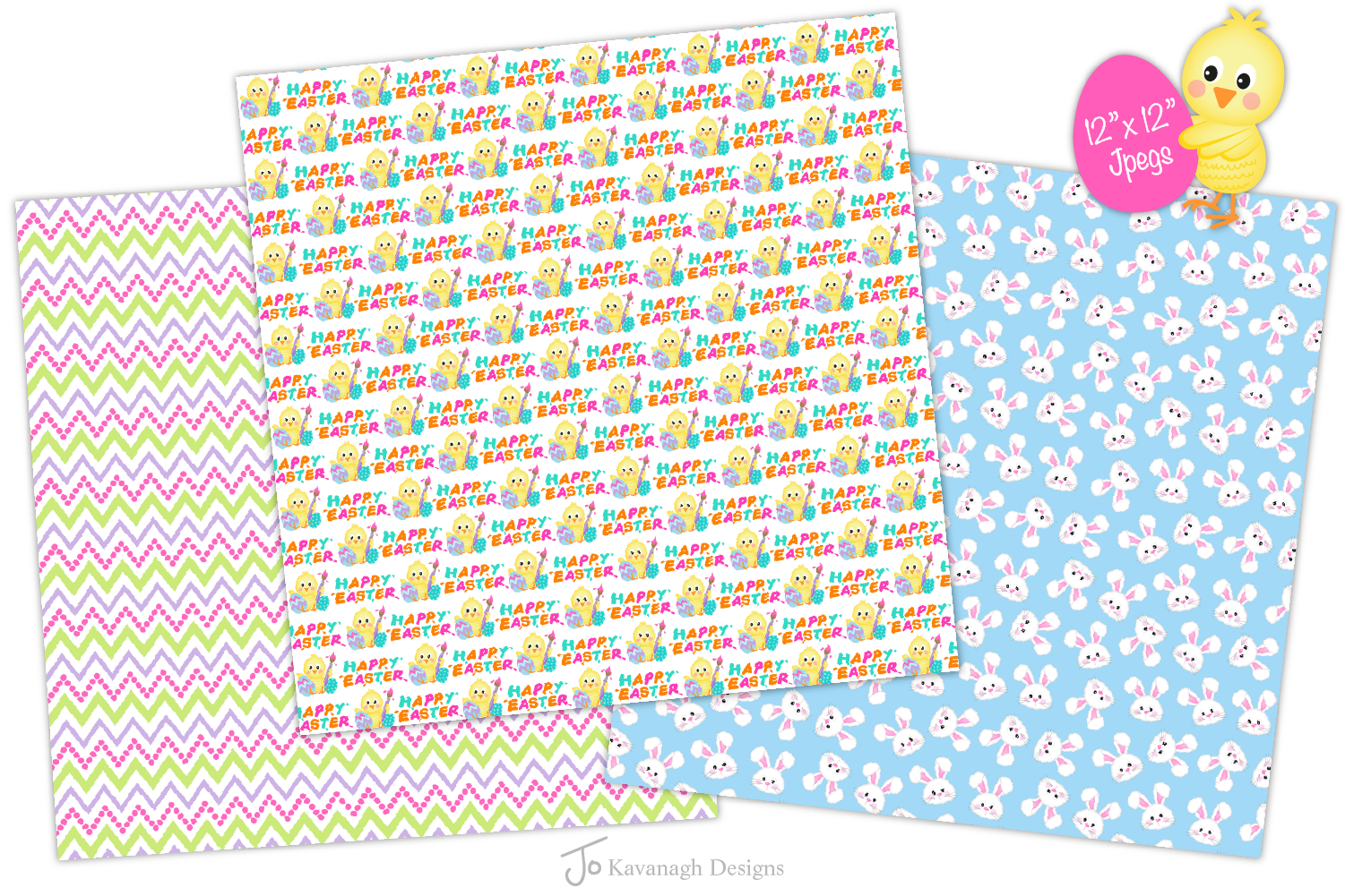 easter bunny digital paper, Easter seamless patterns -P38 example image 4