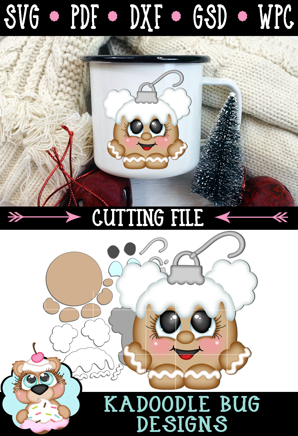 Ginger Girl Ornament Cutie Cut File - SVG PDF DXF GSD WPC example image 2